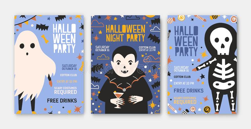 Bundle of Halloween party invitation, flyer or poster templates with cute vampire, skeleton, spooky ghost and place for. Text. Colored vector illustration in vector illustration