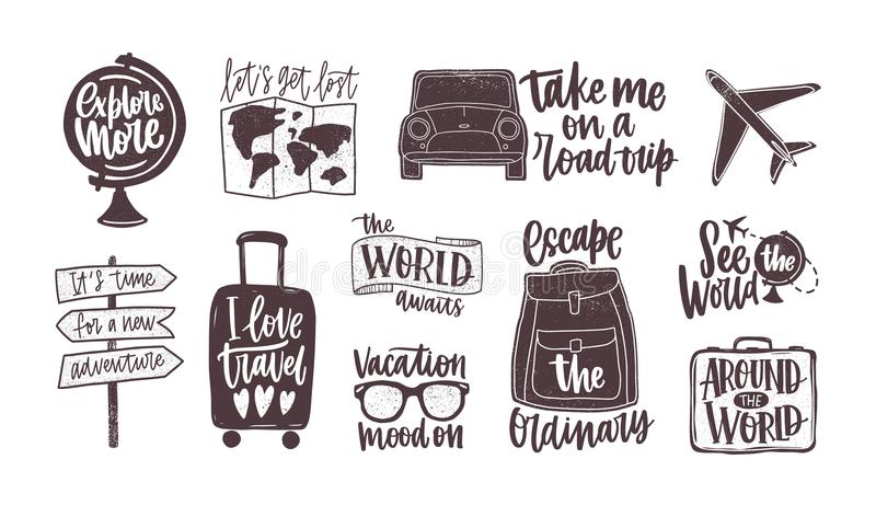 Bundle of handwritten motivational slogans decorated with tourism, travel and vacation elements - backpack, suitcase. World map, globe, airplane, sunglasses vector illustration