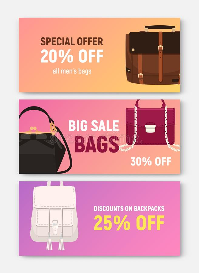 Bundle of horizontal banner, coupon or voucher templates with trendy elegant bags and handbags of different types and stock illustration