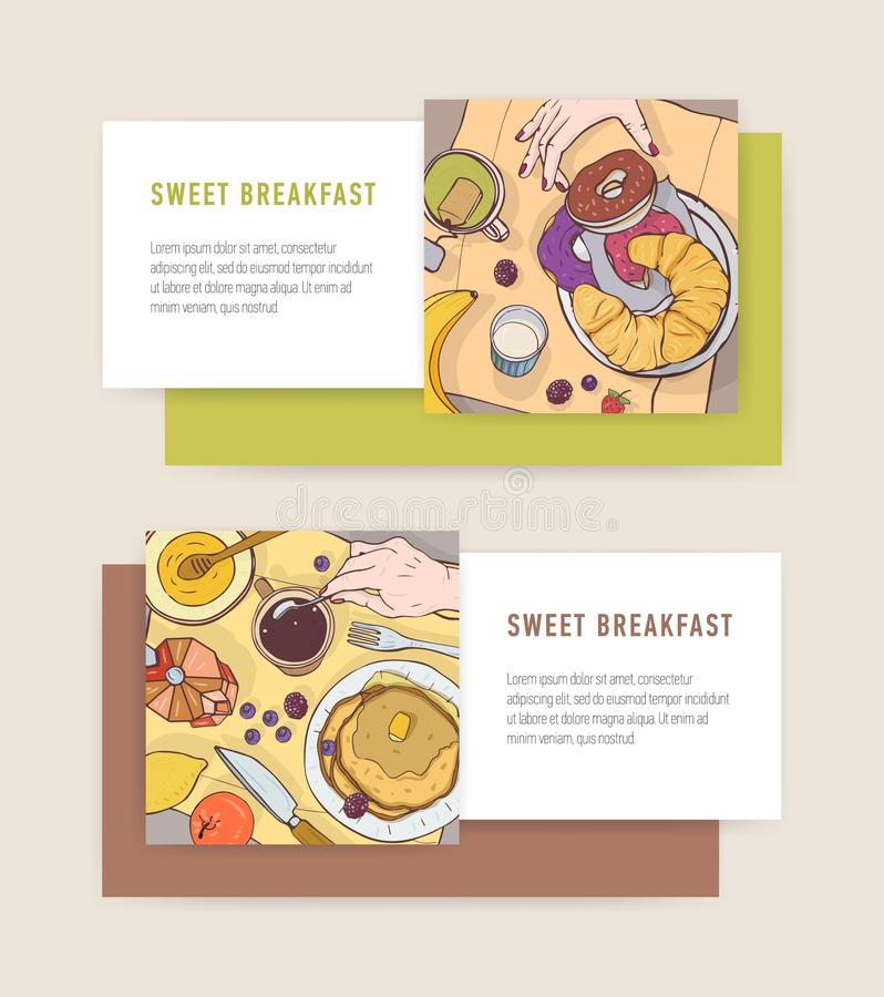 Bundle of horizontal banner templates with tasty breakfast meals or delicious morning food lying on plates and place for vector illustration