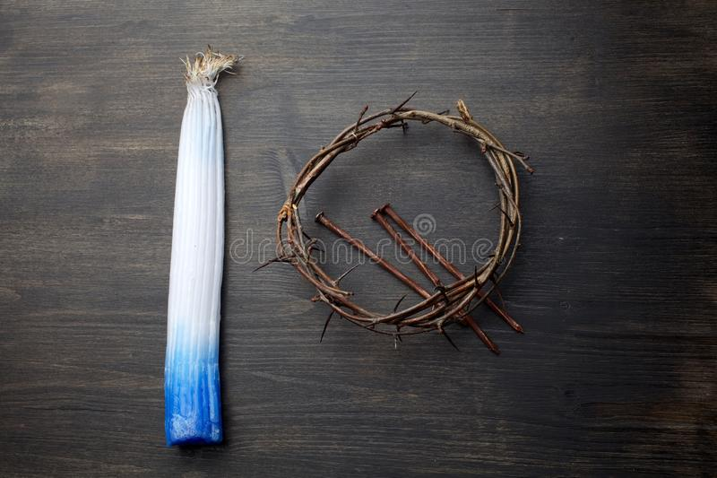 Bundle of 33 Jerusalem candles was slightly burnt in the Holy Fire and Crown Of Thorns stock photos
