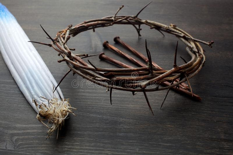 Bundle of 33 Jerusalem candles was slightly burnt in the Holy Fire and Crown Of Thorns. Bundle of 33 Jerusalem candles was slightly burnt in the Holy Fire stock photography
