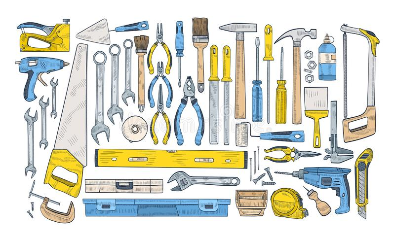 Bundle of manual and powered tools for handcraft and woodworking. Set of equipment for home repair and maintenance. Isolated on white background. Colorful hand stock illustration