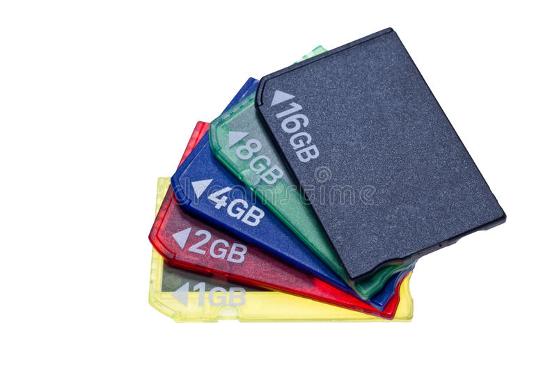 Bundle of memory stick pro duo cards. Memory stick pro duo memory cards different capacity stock photography