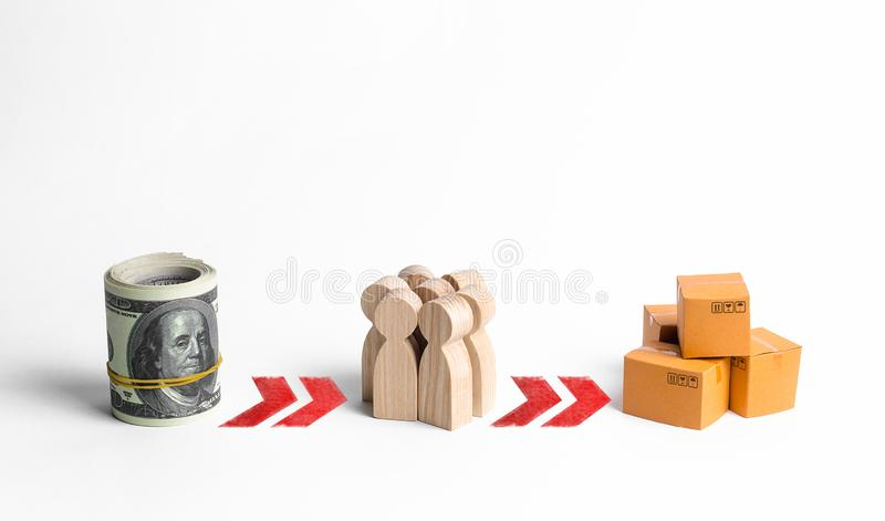 A bundle of money, figures of people and boxes of goods connected by successive red arrows. Attraction of investments stock photos
