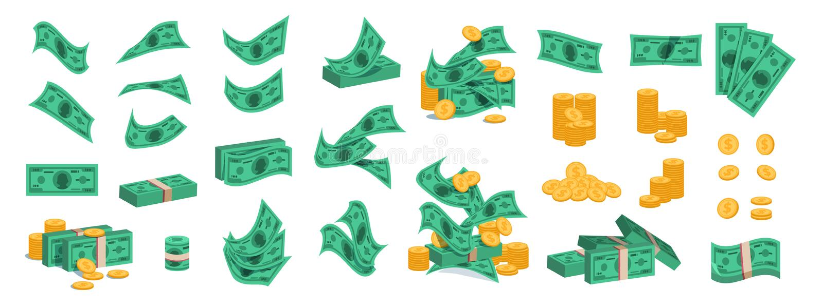 Bundle of money. Golden coins and green dollar banknotes, 3D pile of flat money cash. Vector set of currency stack royalty free illustration