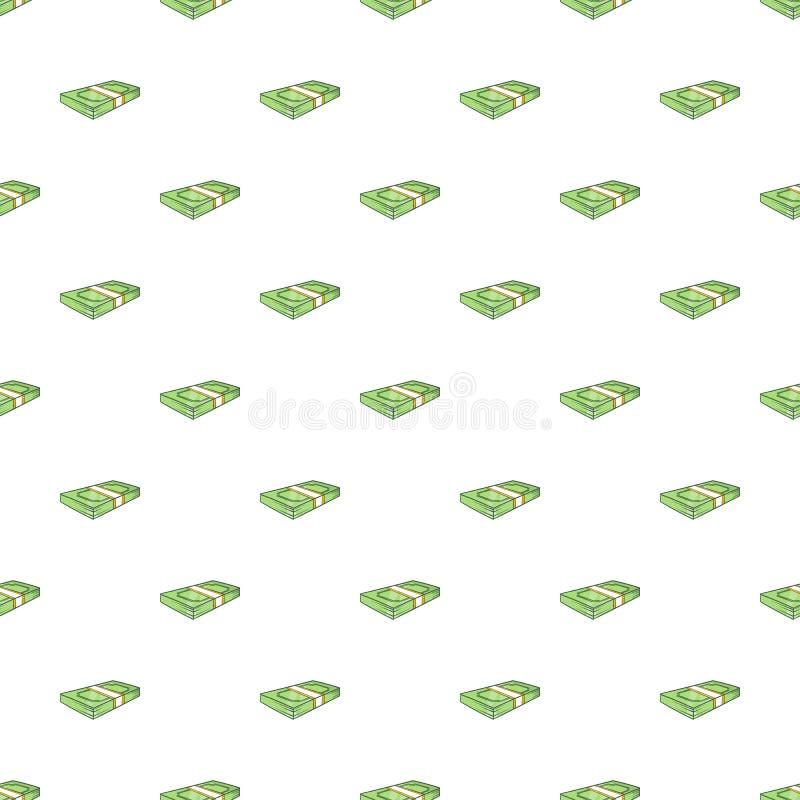 Bundle of money pattern, cartoon style. Bundle of money pattern. Cartoon illustration of bundle of money vector pattern for web stock illustration