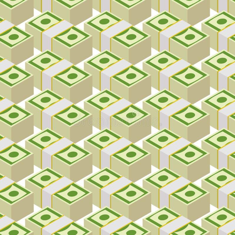 Bundle money seamless pattern. Cash dollars, background. vector illustration