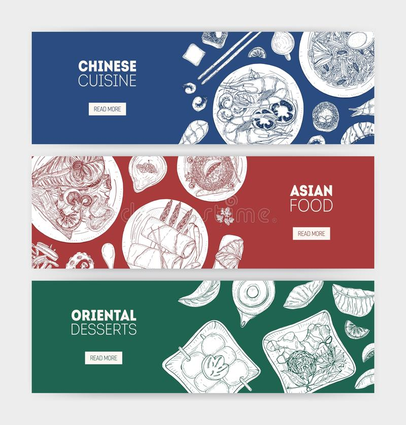 Bundle of monochrome horizontal web banners with Asian cuisine meals lying on plates hand drawn with contour lines on stock illustration