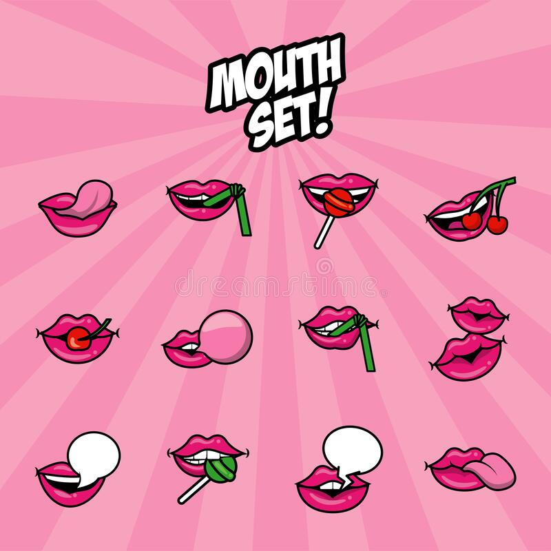 Free Bundle Of Twelve Pop Art Mouths Fill Style Icons Royalty Free Stock Photo - 196452995