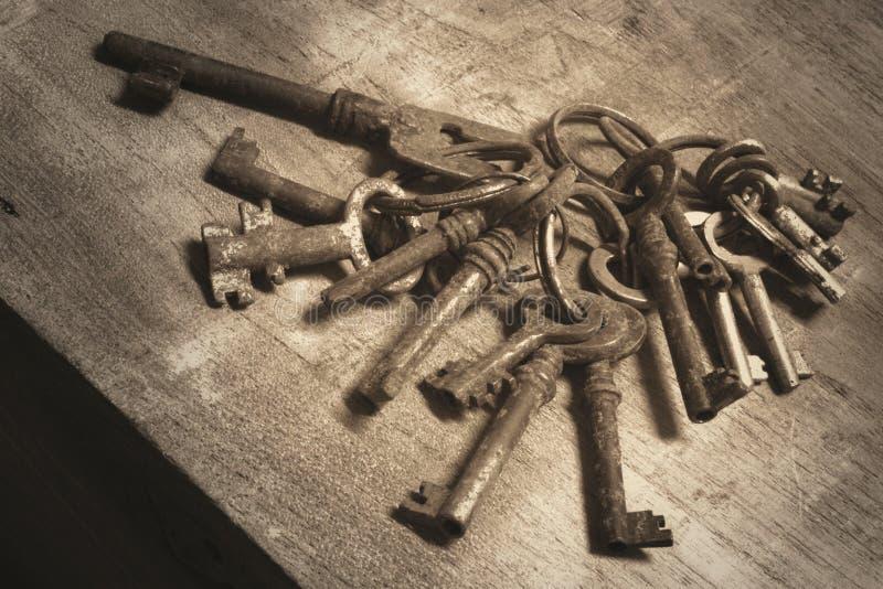 A bundle old vintage keys royalty free stock photos