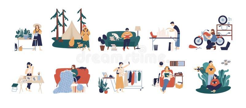 Bundle of people enjoying their hobbies - home gardening, papercraft, bushcraft, books reading, motorcycle customization stock illustration