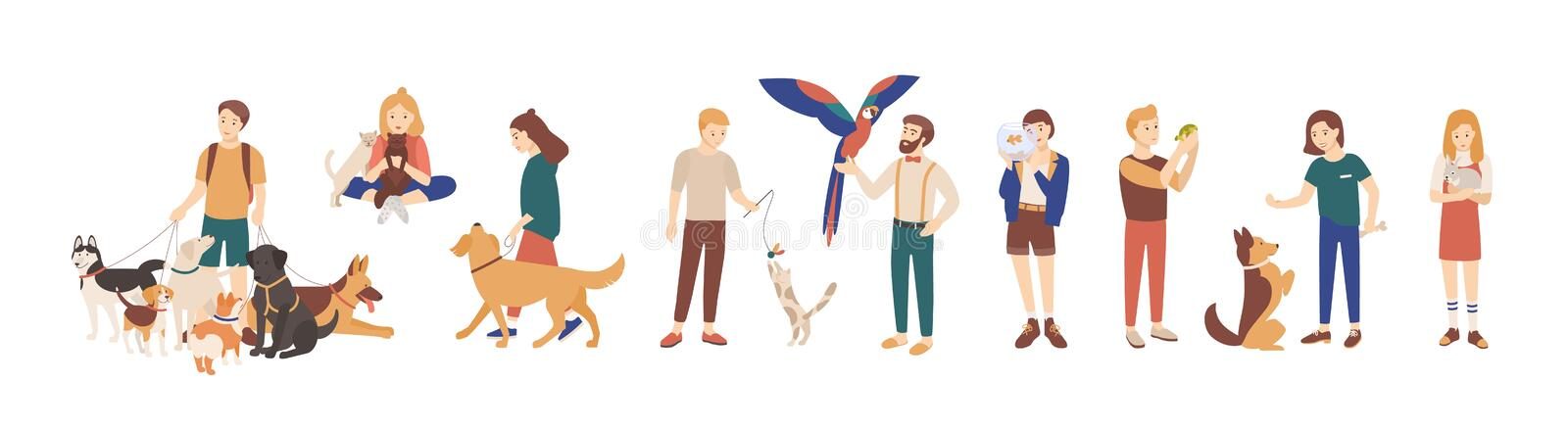 Bundle of pet owners isolated on white background. Collection of men and women holding their domestic animals, walking. And playing with them. Set of male and stock illustration
