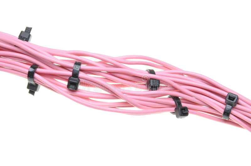 Bundle of pink cables with black cable ties stock photos