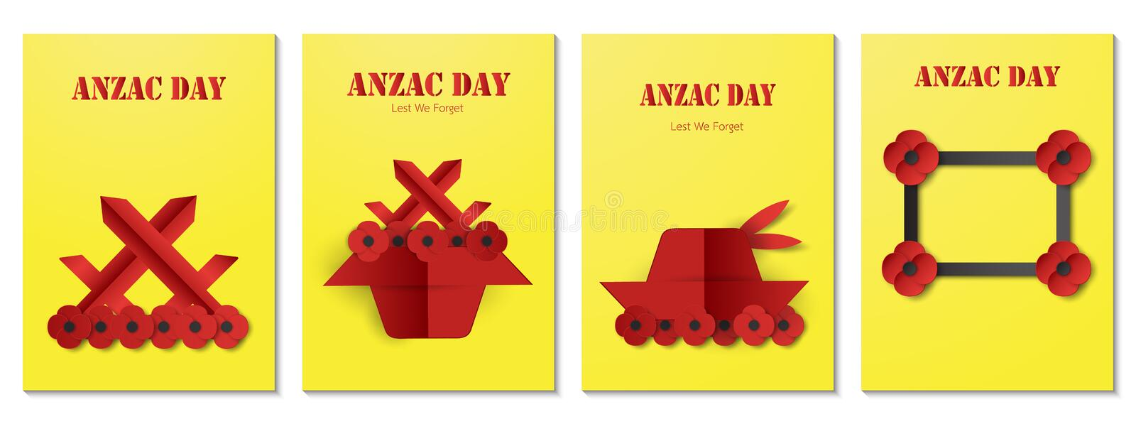 Bundle poster for Anzac day. Vector illustration in paper cut style stock illustration