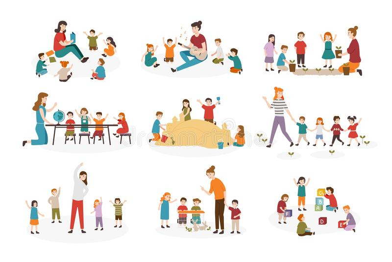 Bundle of preschool or kindergarten activities. Female teacher and children playing guitar and singing songs, reading royalty free illustration