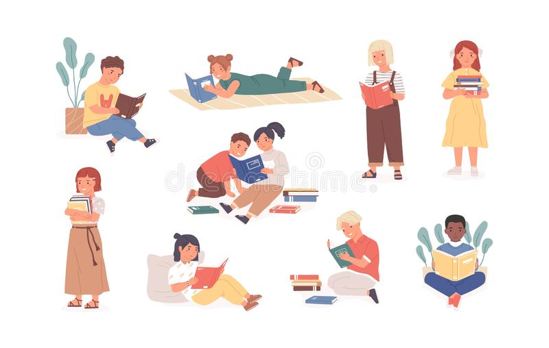 Bundle of reading children or studying kids. Collection of boys and girls with books, readers, young literature fans. Isolated on white background. Modern flat royalty free illustration
