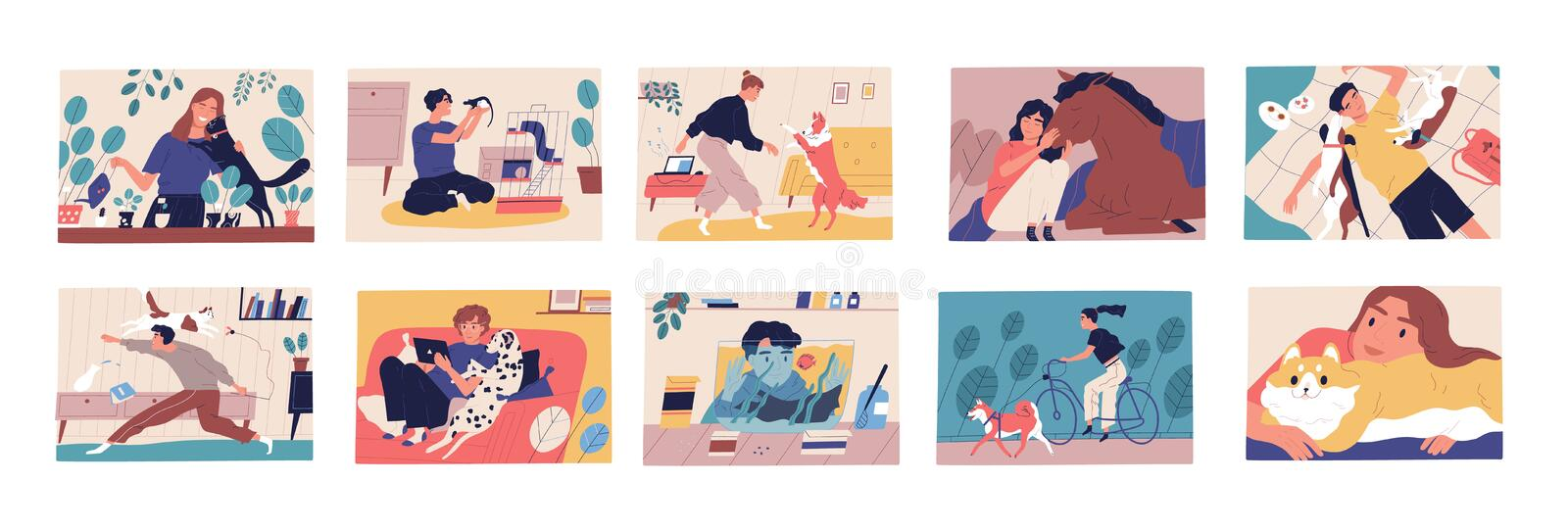 Bundle of scenes with pet owners. Collection of cute funny men and women spending time with their domestic animals. Walking, cuddling and playing with them vector illustration