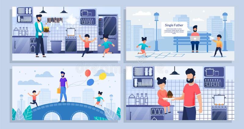 Bundle, Set Landing Web Page Single Father, Kids stock illustration