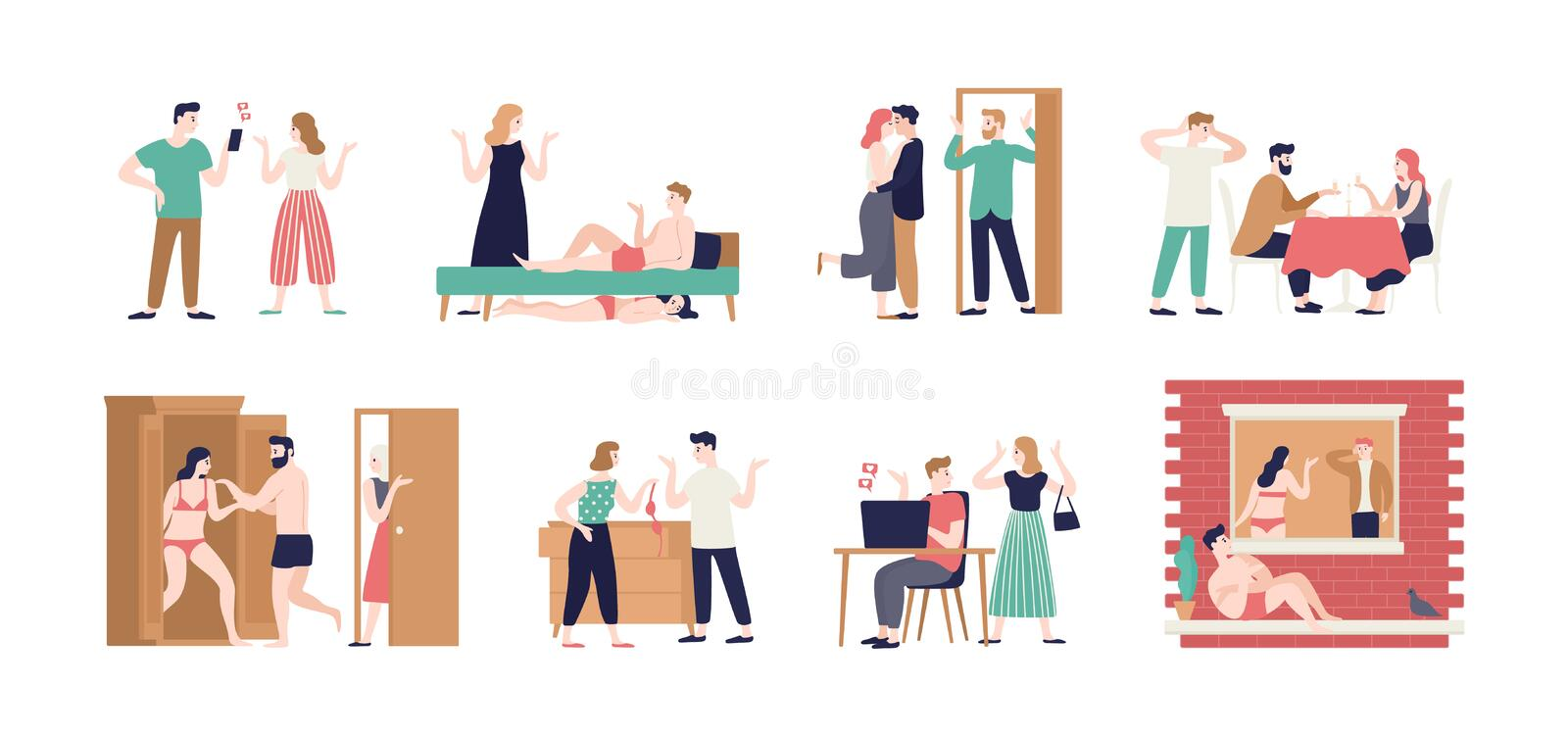 Bundle of spouses or romantic partners during conflict related to betrayal. Set of husband and wife cheating with their vector illustration