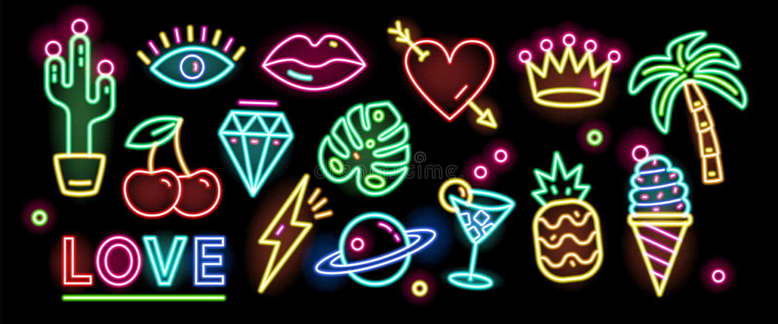 Bundle of symbols, signs or signboards glowing with colorful neon light isolated on black background. Collection of. Trendy design elements or decorations stock illustration
