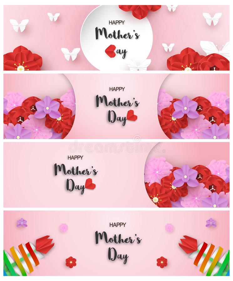 Bundle template design for happy mother's day. Vector illustration in paper cut and craft style. Decoration background with. Flowers for invitation, cover royalty free stock image