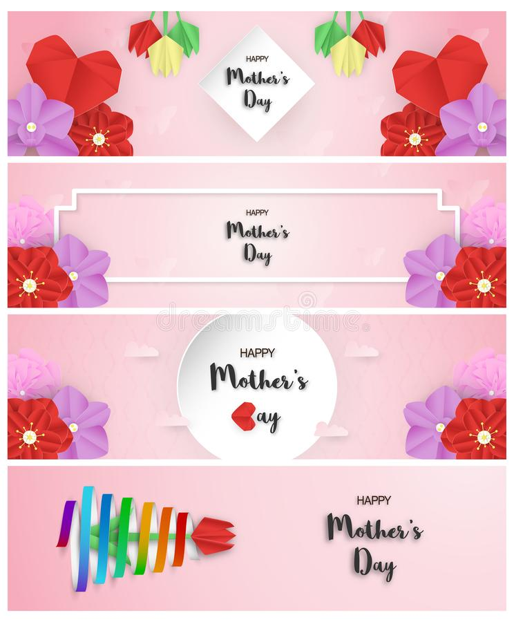 Bundle template design for happy mother's day. Vector illustration in paper cut and craft style. Decoration background with. Flowers for invitation, cover royalty free illustration