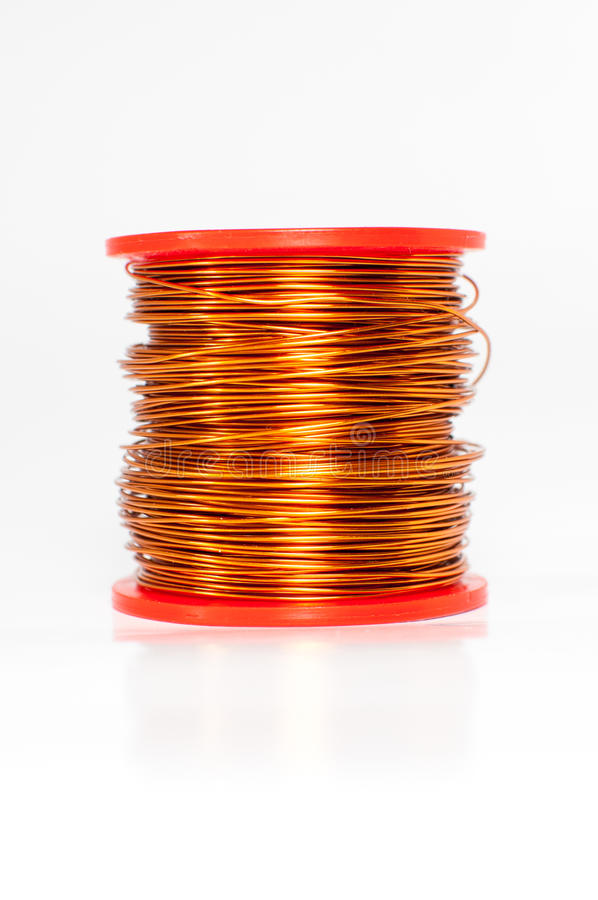 Bundle of thin copper wire isolated on white.  stock images