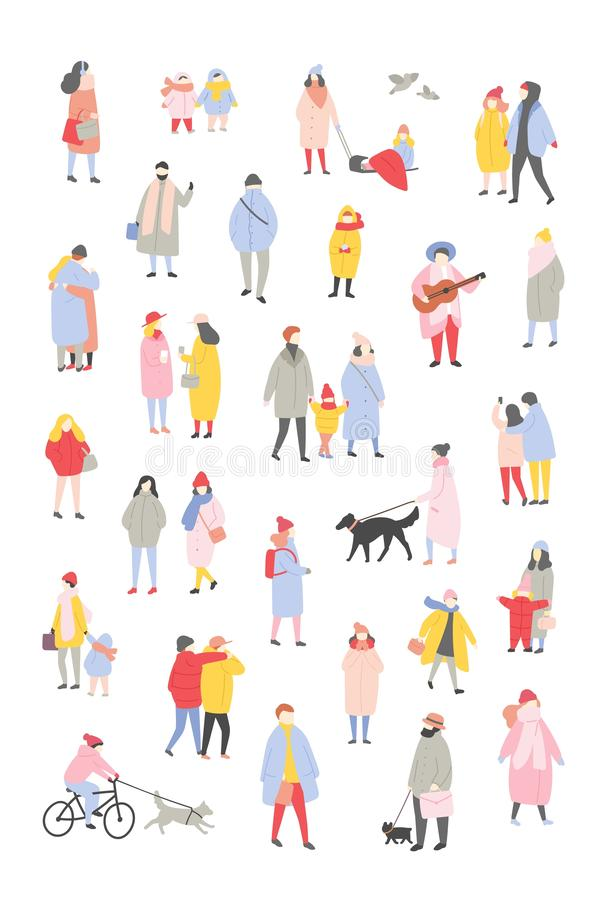 Bundle of tiny people dressed in outerwear walking and performing outdoor activities at Christmas eve. Men and women royalty free illustration