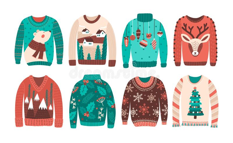 Bundle of ugly Christmas sweaters or jumpers isolated on white background. Set of seasonal knitted warm winter clothing royalty free illustration