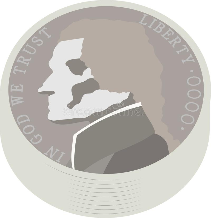 Bundle of US American 5 cent coin vector illustration