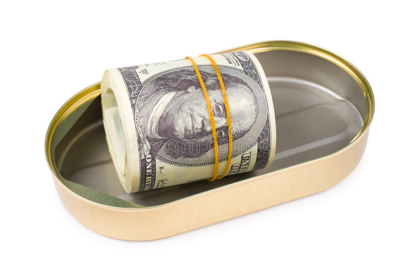 Bundle Of US Dollars In Can Royalty Free Stock Photos