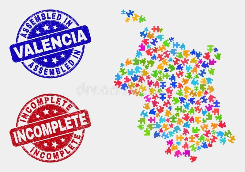 Bundle Valencia Province Map and Distress Assembled and Incomplete Stamps. Assemble Valencia Province map and blue Assembled seal stamp, and Incomplete grunge royalty free illustration