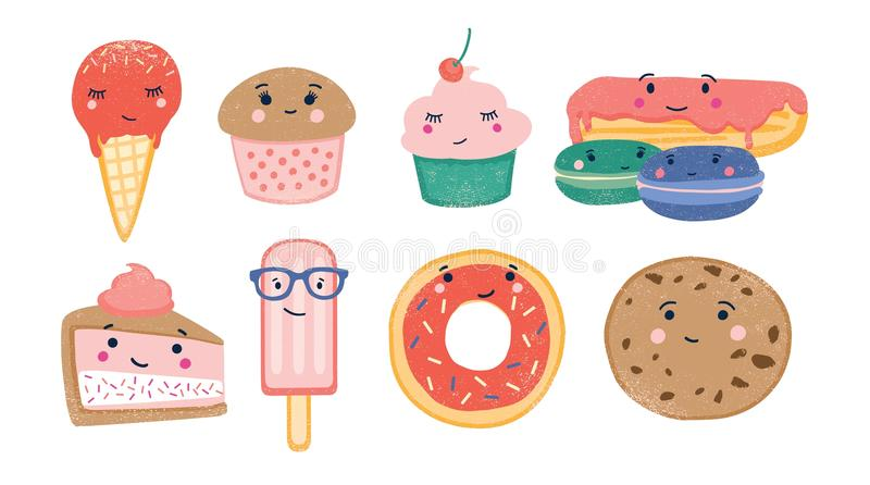 Bundle of various sweet desserts and baked confections with cute smiling faces isolated on white background. Adorable. Funny cartoon characters. Colorful stock illustration