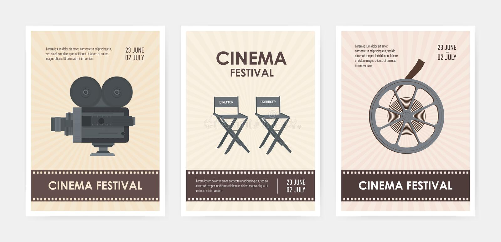 Bundle of vertical flyer or poster templates with retro camera, director and producer chairs, film reel and place for royalty free illustration