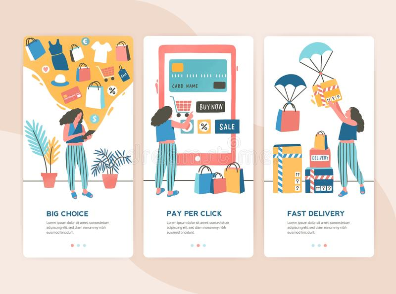 Bundle of vertical web banner templates with stages of online shopping - choice, payment, delivery. Set of scenes with royalty free illustration