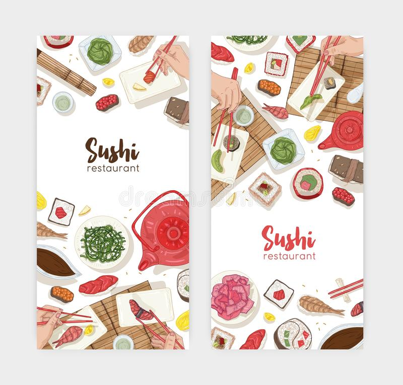 Bundle of web banner templates with dining table and hands holding sushi, sashimi and rolls with chopsticks on white. Background. Realistic hand drawn vector royalty free illustration