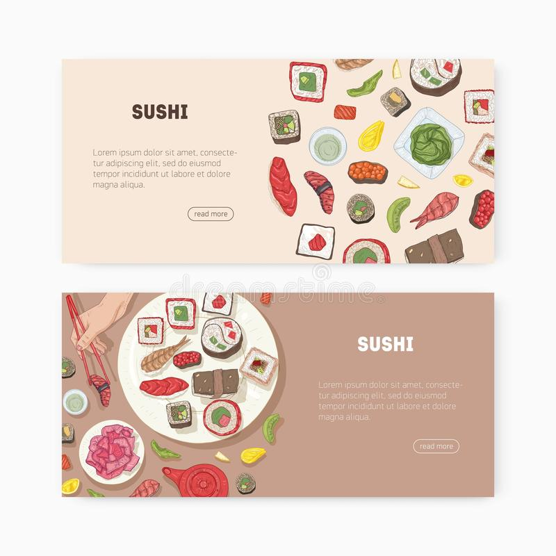 Bundle of web banner templates with Japanese food and hands holding sushi, sashimi, rolls with chopsticks and place for. Text. Vector illustration for Asian stock illustration