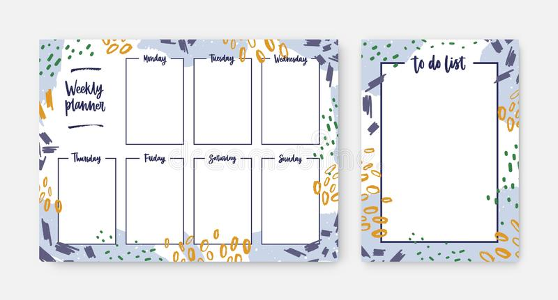 Bundle of weekly planner and to-do-list templates with frame decorated by brush strokes, paint traces and scribble. Effective daily task and appointment royalty free illustration