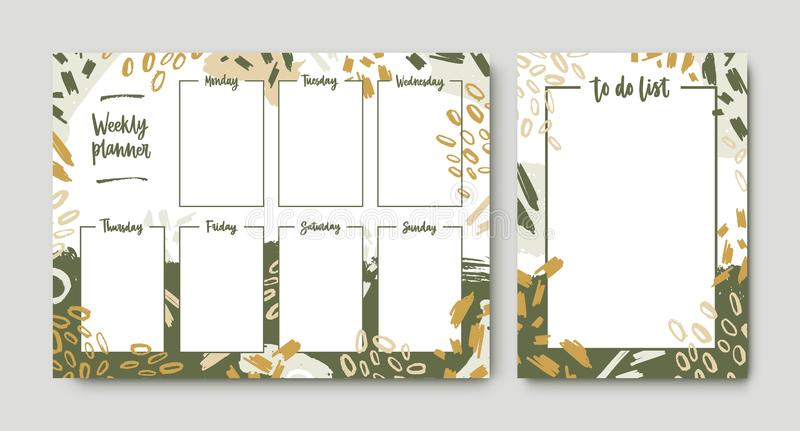 Bundle of weekly planner and to-do-list templates with frame decorated by green brush strokes, paint traces and scribble. Printable pages for task and vector illustration