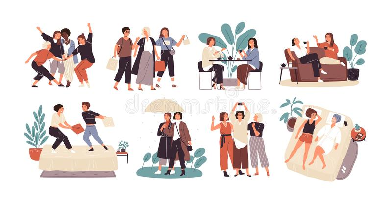 Bundle of young women or girl friends spending time together - drinking tea at cafe, walking with umbrella, pillow. Fighting, shopping, taking selfie. Cute stock illustration
