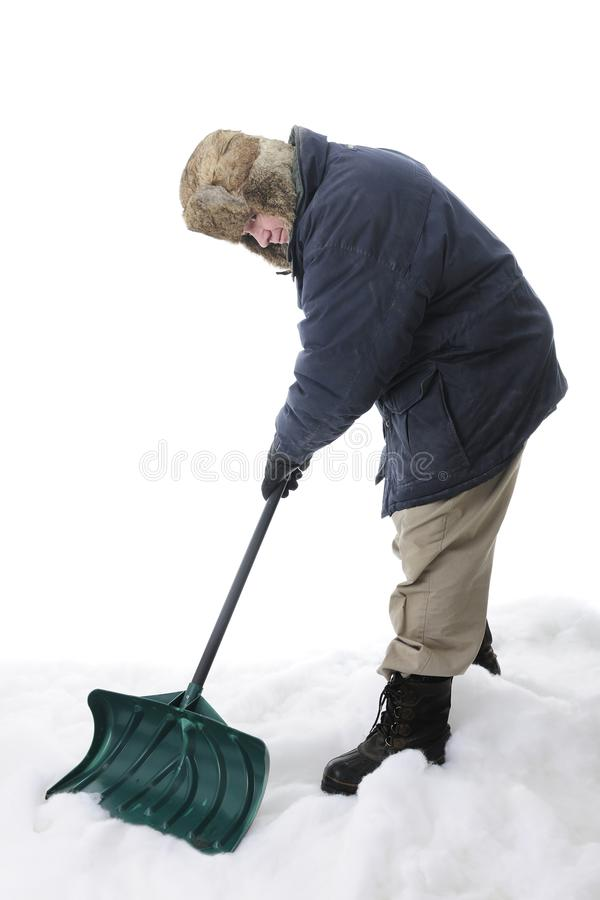 Senior Pushing the Shovel royalty free stock photos