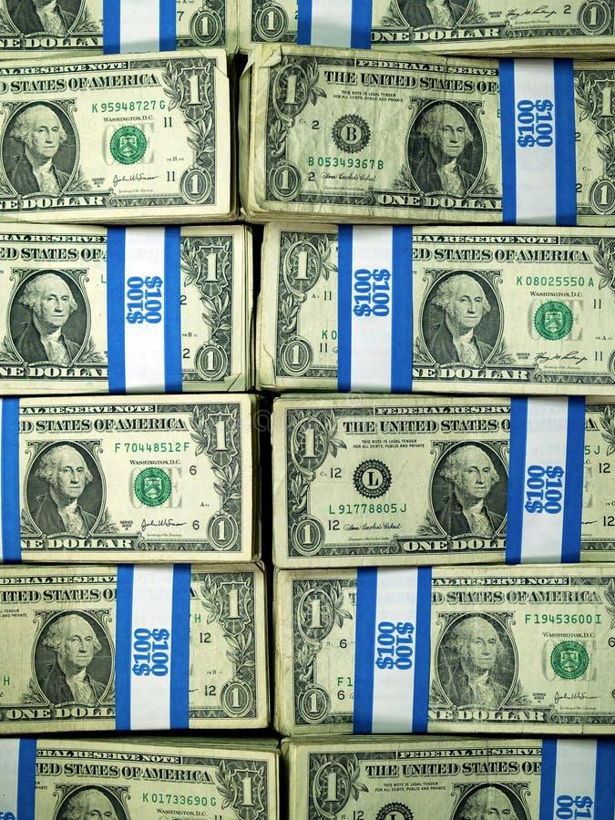 Bundles Of U.S. One Dollar Bills Stock Image