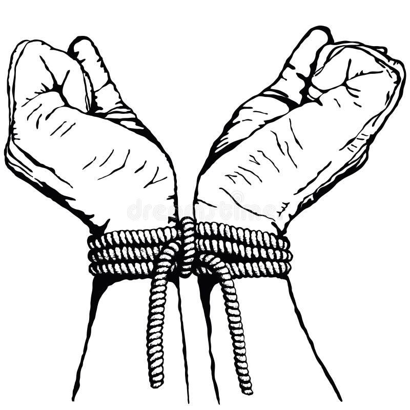 bundna händer vektor illustrationer