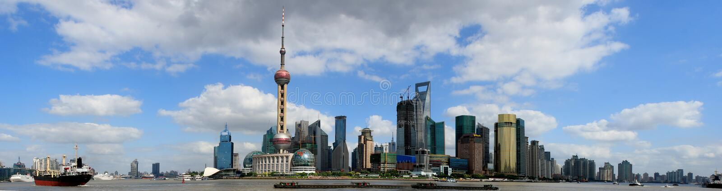 bundpanorama shanghai royaltyfria bilder