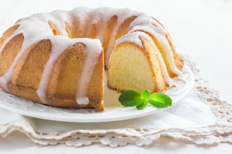 Bundt Cake with Sugar Glaze royalty free stock photos