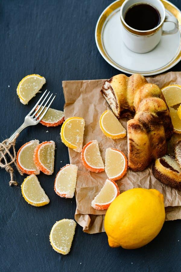 Bundt marble cake, and lemon slices stock photo