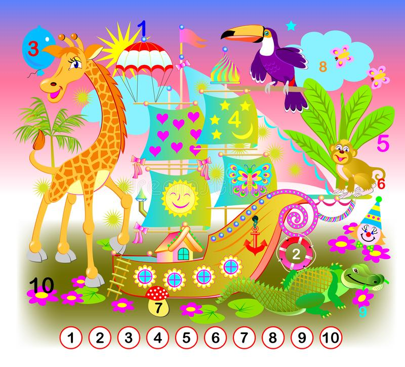 ?bung f?r Kleinkinder Müssen Sie die Zahlen von 1 bis 10 finden versteckt im Bild Logikr?tselspiel lizenzfreie abbildung
