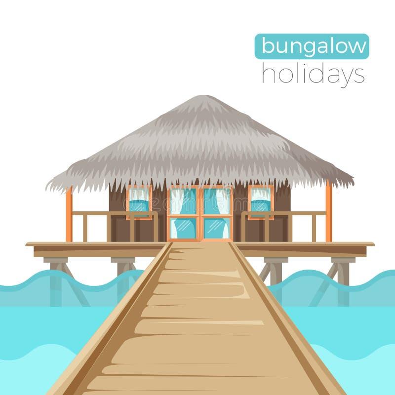 Bungalowów wakacji reklamy plakat z chałupa domem na wodzie ilustracji