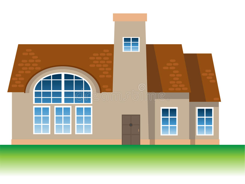 Bungalow. A big and nice bungalow stock illustration